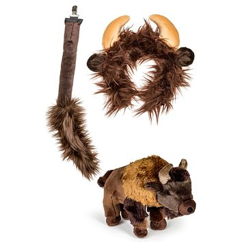 Buffalo Ears Headband and Tail Set with Plush Toy Bison Bundle for Pretend Play Animals Dressup