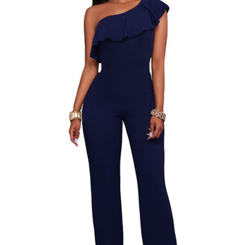 #Women's Navy Blue One Shoulder Ruffle Jumpsuit