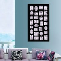 Adeco Black Wood 29 Openings Wall Collage Picture Frame, Black