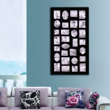 """Adeco [PF9105] Decorative Black Wood Wall Hanging Collage Picture Photo Frame, 29 Openings, Various Sizes between 3.25x2.75"""" and 4.5x4""""; Square, circular, oval and rectangular openings"""