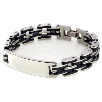 "New Silver Link Chain Rubber Stainless steel Men's Bracelet Wrist band 8.5"" Charm Men Bangle Cuff"