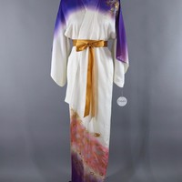 Vintage Silk Kimono Robe / White & Gold Peacock Feathers