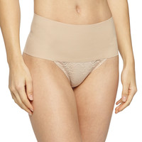 Undie-Tectable® High-Waist Lace Thong, Soft Nude, Size: