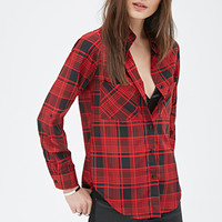 FOREVER 21 Abstract Plaid Shirt Red/Black