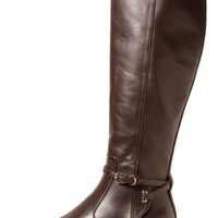 Balenciaga Papier Leather Buckled Knee High Riding Boot