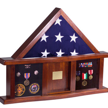 Military Medal Shadow Box with Display Case for Memorial Flag: Black felt