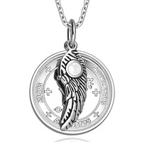 Archangel Michael Sigil Amulet Magic Powers Angel Wing Charm White Cats Eye Pendant 22 Inch Necklace
