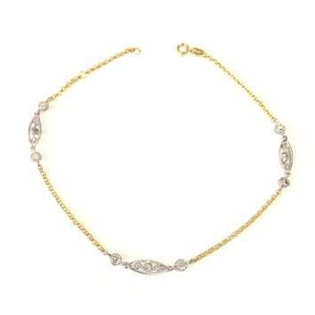 14K Yellow And White Gold Charms Fancy Anklet, 10""