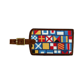 Nautical Alphabet Needlepoint Luggage Tag by Smathers & Branson