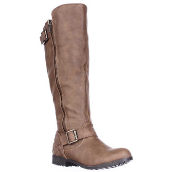 MG35 Larisa Wide Calf Quilted Heel Riding Boots - Cognac