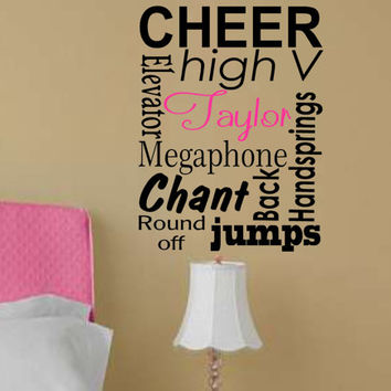 Cheer Personalized Subway art Vinyl Wall Decal Lettering Cheer leading Custom Name Wall Art
