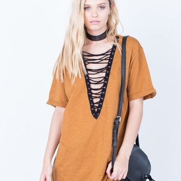 Deep V Neck Lace Up Exposed Navel Plain T-Shirts