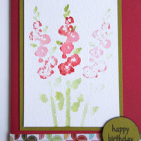 Birthday Card with Stamped Watercolor Image of Hollyhocks - Handmade Red and Green Happy Birthday Notecard - Watercolor Card for Gardeners