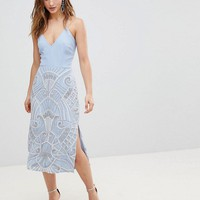 Frock And Frill Premium 2 In 1 Midi Pencil Dress With Embellished Skirt at asos.com