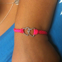 Double Heart Braided Arm Candy Bracelet You Choose Color