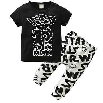 2019 Summer Newborn Baby Boys Clothing Set Short-sleeved Black Baby Boy Clothes Children Printed T-shirt+Pants Kids 2pcs Set