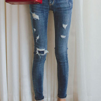 Blue Faded Ripped Skinny Jeans