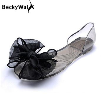 Sweet Bowknot Women Sandals Summer Jelly Shoes Woman Crystal Transparent Flats Casual Beach Ladies Shoes WSH2053