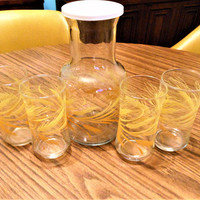 6 Piece Libbey of Canada Golden Wheat Juice Set, Libbey Wheat Juice Carafe & 4 Glasses, Libbey Wheat Juice Glasses and Pitcher