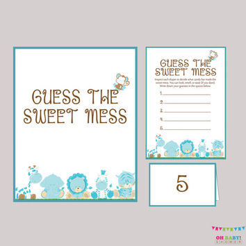 Boy Safari Baby Shower Diaper Candy Bar Game Printable Guess The Sweet Mess - Game Cards, Sign and Labels Candy Bar Diaper Game - BS0001-B