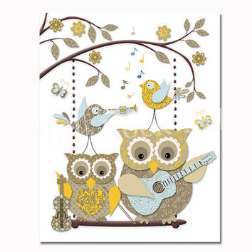 Owl poster Music nursery wall decor baby boy room decoration playroom artwork toddler art playing guitar violin mother family blue yellow