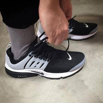 """NIKE""Air Presto Women Men Fashion Running Sport Casual Shoes Sneakers Black toe cap w"