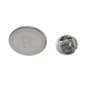 Silver Toned Etched Oval Letter R Monogram Lapel Pin