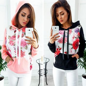 Womens Floral Print Sweater Hoodie  +Gift Necklace