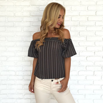 Fall's Eve Off Shoulder Navy Print Blouse