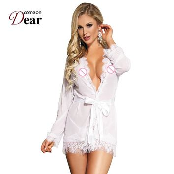 Comeondear Lenceria Erotica Ladies Sleepwear Sheer Robe With Panty Valentine's Day Sexy Lingerie RB80182 Hot Babydoll Nightgowns