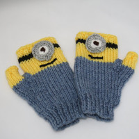 Minions knitted fingerless gloves toddler fingerless gloves