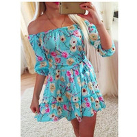 Fashion women print off shoulder casual dress vintage beach dresses = 5738886017