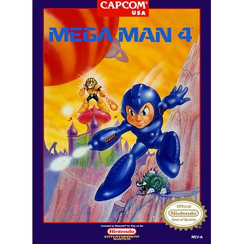 Retro Mega Man 4 Game Poster//NES Game Poster//Video Game Poster//Vintage Game Cover Reprint