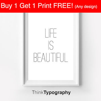 Motivational Wall Decor Typography Poster Life is Beautiful Inspirational Print Home Decor Winter Gift Kitchen Decor Women couple love