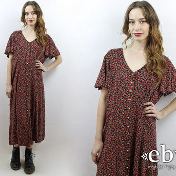 90s Floral Dress Soft Grunge Dress Plus Size Dress Plus Size Vintage Floral Maxi Dress 90s Maxi Dress 1990s Dress XL Dress 1X Dress 1990s