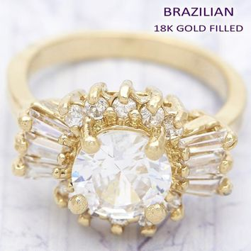 Gold Layered Women Baguette Multi Stone Ring, with White Cubic Zirconia, by Folks Jewelry