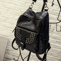 Studded Rivets Black Leather Backpack Daypack Travel Bag Motorcycle Bag