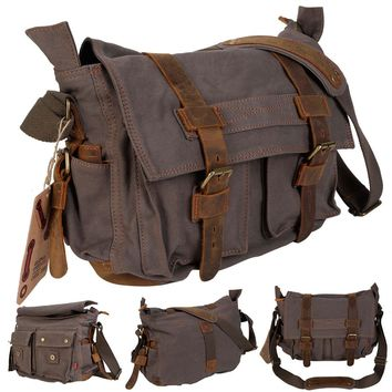 Men's Vintage Canvas Leather School Military Shoulder Messenger Bag This is our vintage style canvas and leather messenger shoulder bag which is the perfect choice for u to carrying your stuff on-the-go.