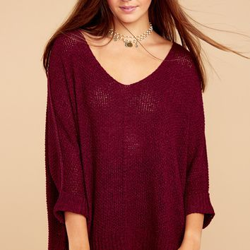 Caught Up In Life Burgundy Sweater