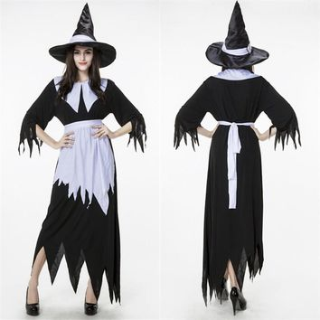 COULHUNT 2017 Irregular Black Halloween Witch Costumes Adult The Wizard of Oz Devil Cosplay Halloween Carnival Party Fancy Dress