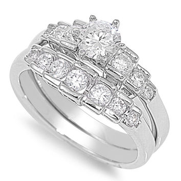 925 Sterling Silver CZ Set of 2 Bridal Round Center Ring 10MM