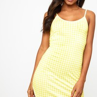 Yellow Gingham Bodycon Dress