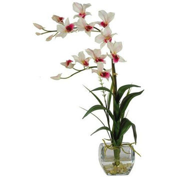 White Dendrobium w-Glass Vase Silk Flower Arrangement