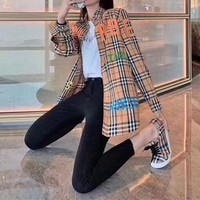 """Burberry""Women All-match Personality Casual Tartan Buttons Colorful Letter Lapel Solid Color Leisure Long Sleeve Shirt Tops"
