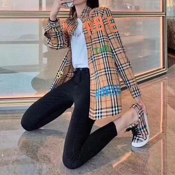 """""""Burberry""""Women All-match Personality Casual Tartan Buttons Colorful Letter Lapel Solid Color Leisure Long Sleeve Shirt Tops"""