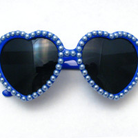 Cobalt Blue Heart Shaped Sunglasses - Bright Sparkly Blue Sunnies w/ Periwinkle Pearls - Adorable Kawaii Accessories