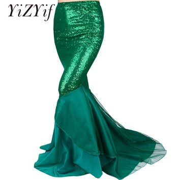 YiZYiF Sequined Mermaid Skirt Halloween Cosplay Mermaid Costume Maxi Skirt Anime Little Mermaid Ariel long green Skirt Women
