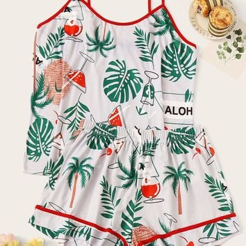 Plus Tropical Contrast Piping Cami Pajama Set