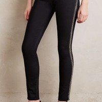 Paige Verdugo Beaded Skinny Jeans in Black Shadow With Pewter Size: