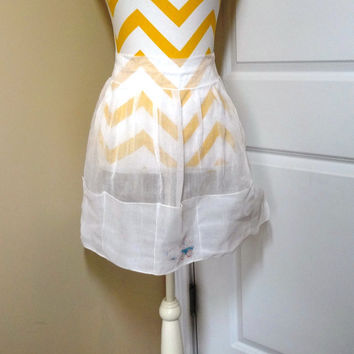 Vintage Dainty White Sheer Kitchen Apron with Stenciled Rabbit & Cart, Circa 1950s--1960s